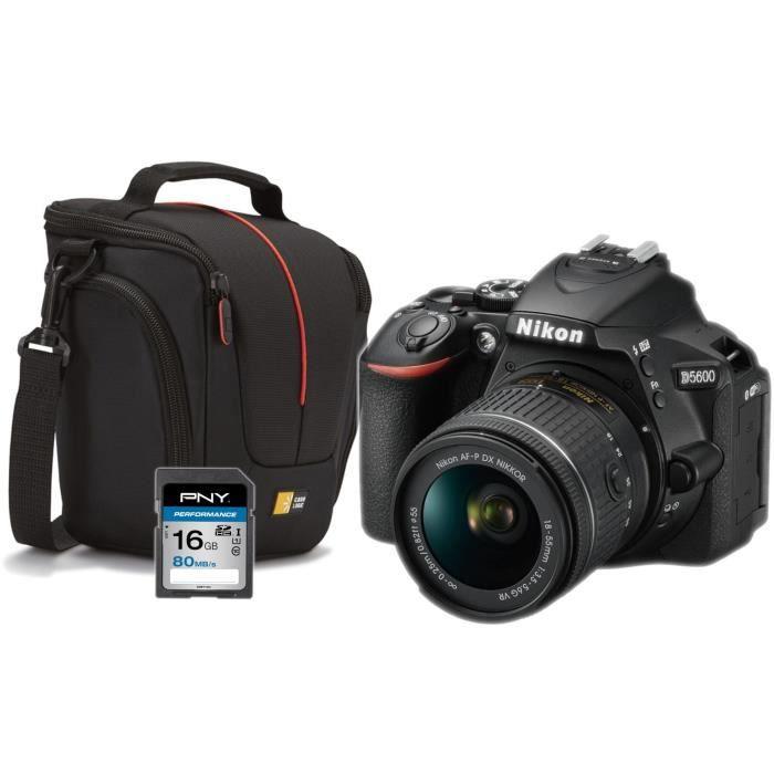 NIKON D5600 Appareil Photo Reflex + Objectif AF-P 18-55 VR + SD 16 Go + Sacoche