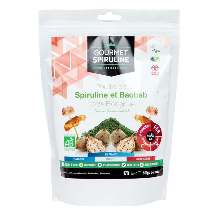 GOURMET SPIRULINE Poudre Spiruline-Baobab Bio - 500 g