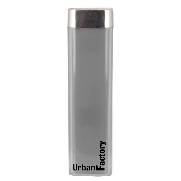 Urban Factory Batterie Externe Lipstick 2600 mAh Gris Perle