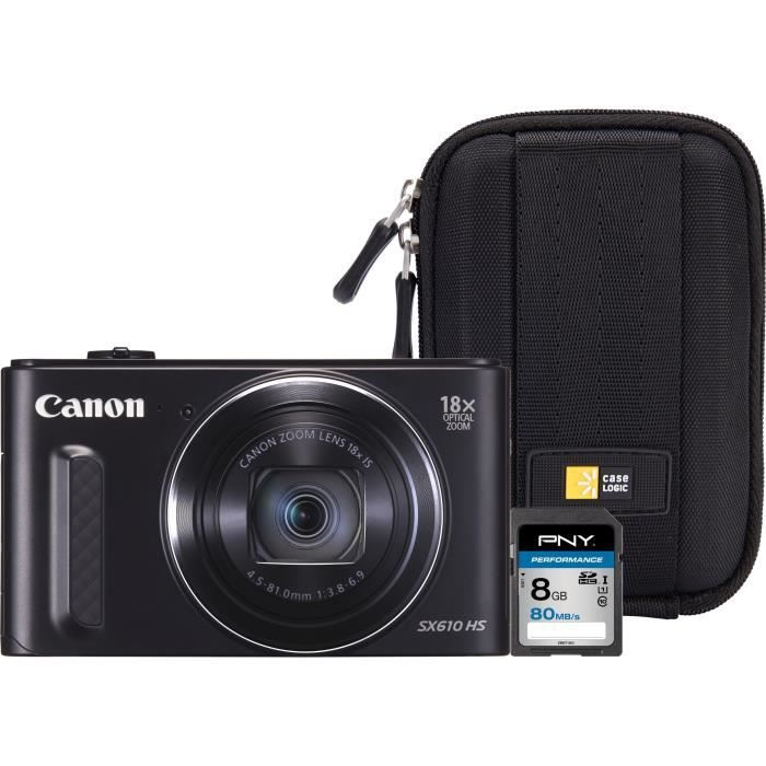 Canon PowerShot SX610 HS + Carte mémoire SDHC 8 Go + Etui pour appareil photo compact
