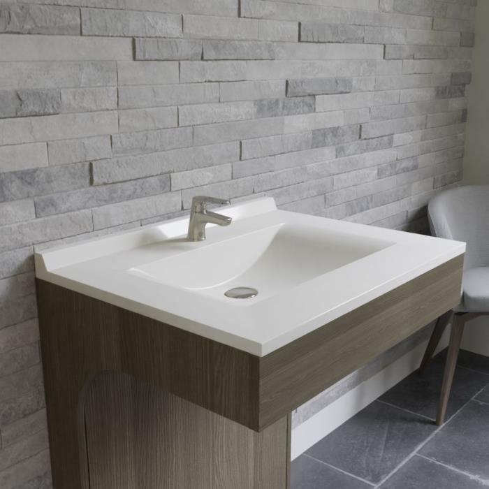 CREAZUR Plan simple vasque Blanc 70cm