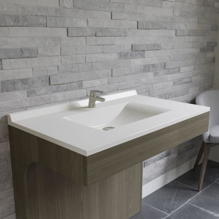 CREAZUR Plan simple vasque Blanc 90cm