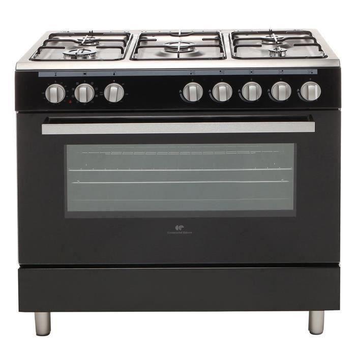 Continental Edison CECP9060MB- Cuisinière table gaz-5 foyers-Four électrique multifonction-Catalyse-95L-L90xH85cm-Noir-Inox