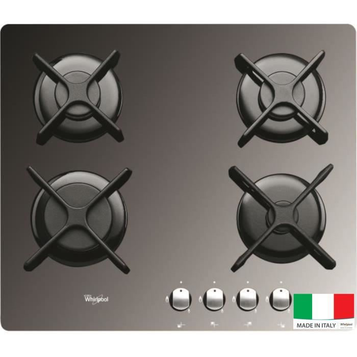 WHIRLPOOL AKT2000MR Table de cuisson gaz - 4 foyers - 7800W - L59 x P51cm - Revêtement verre trempé - Miroir