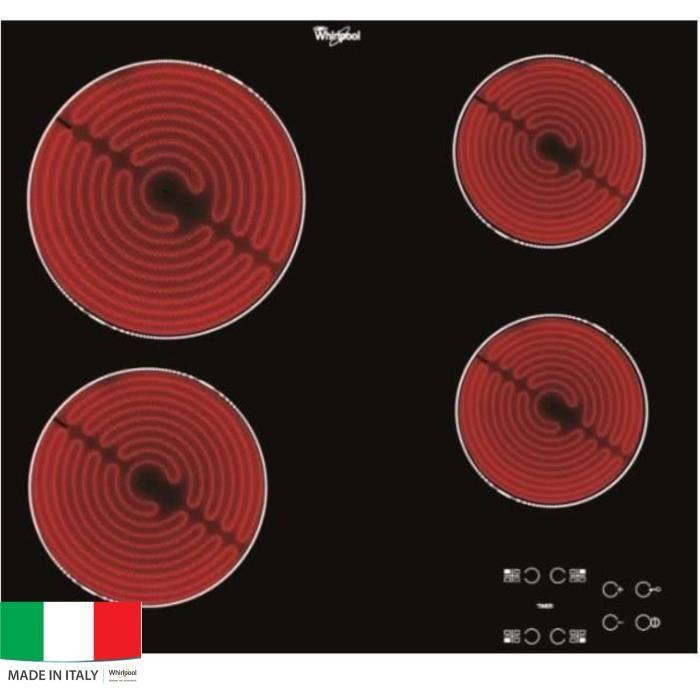 WHIRLPOOL AKT8090NE Table de cuisson Vitrocéramique - 4 zones - 6200W - L58 x P51cm - Revêtement verre - Noir