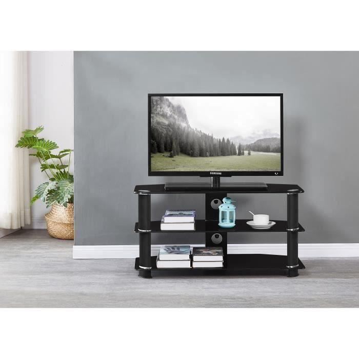 NATHAN Meuble TV en verre trempé Noir - L 90 x P 40 x H 45 cm