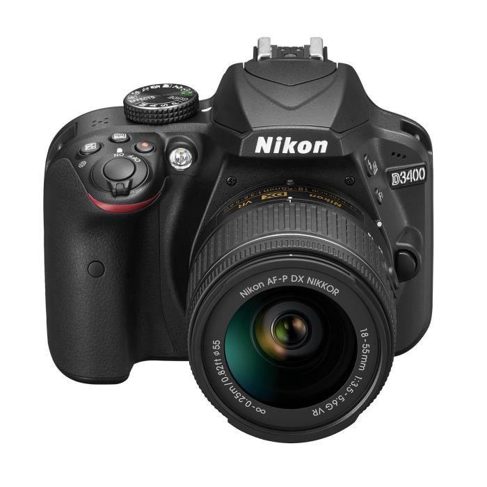 NIKON D3400 - Reflex numérique - Grand capteur DX de 24,2Mp - Vidéo Full HD - Bluetooth - Noir + Objectif AF-P DX 18-55 VR