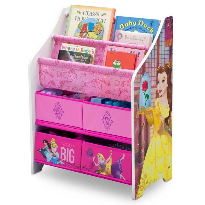 DISNEY PRINCESSES - Bibliothèque Enfant - Bois et Tissu - Rose et Multicolore