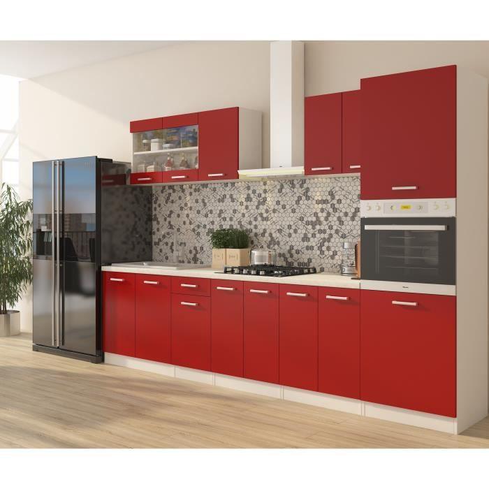 ULTRA Cuisine complète avec colonne four et plan de travail inclus L 300 cm - Rouge mat