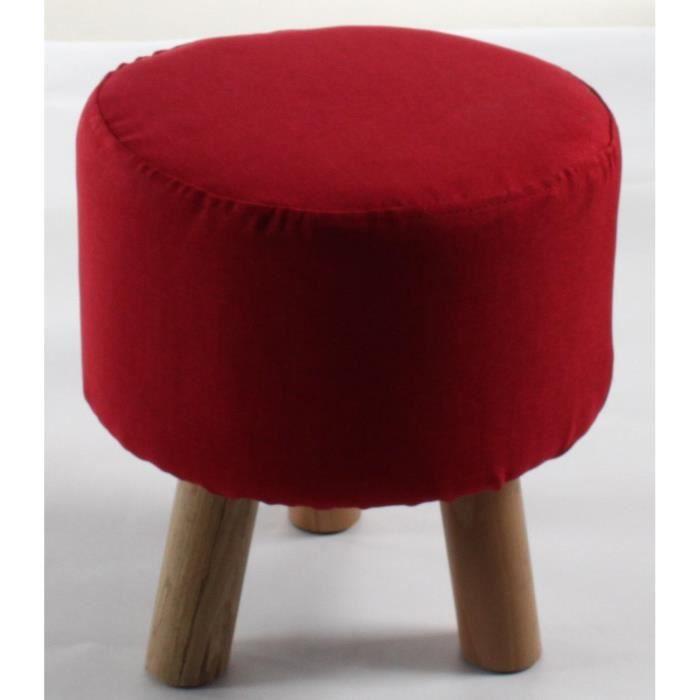 Pouf enfant pied en bois - Revêtement tissu rouge - Scandinave - Scandinave - L 29 x P 29 cm