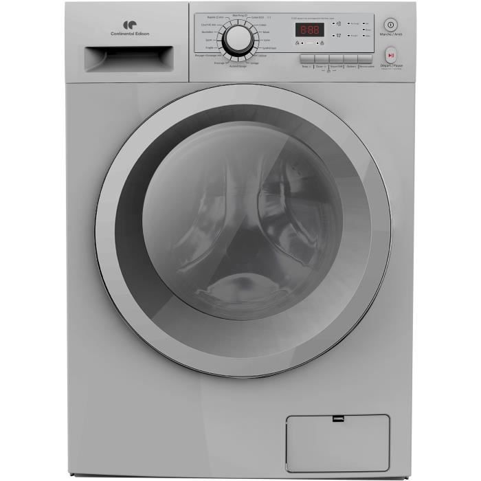 CONTINENTAL EDISON LL10140S8 Lave-linge frontal - 10 kg - 1400 trs/mn - Classe A +++ - Silver