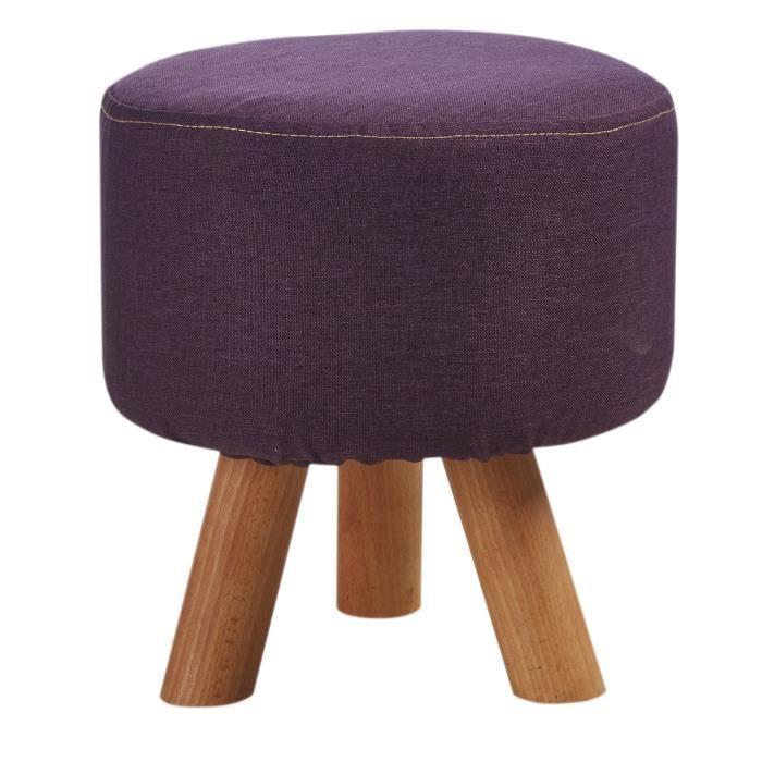 Pouf enfant pieds en bois - Revêtement tissu violet - Scandinave - L 29 x P 29 cm
