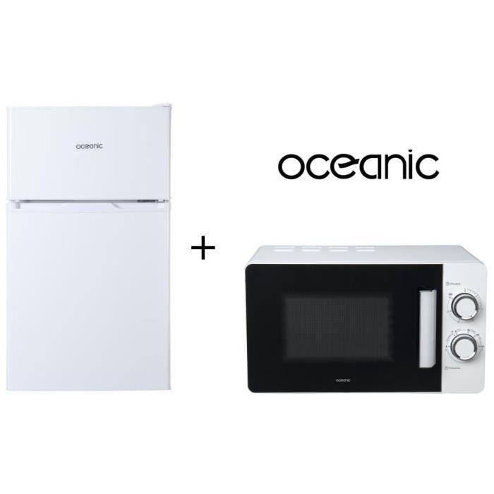 PACK CUISSON OCEANIC AMO20W6 - Micro-ondes 20L Blanc + OCEA2DT70W - Réfrigérateur congélateur haut - 70L (48+22) - Froid statique