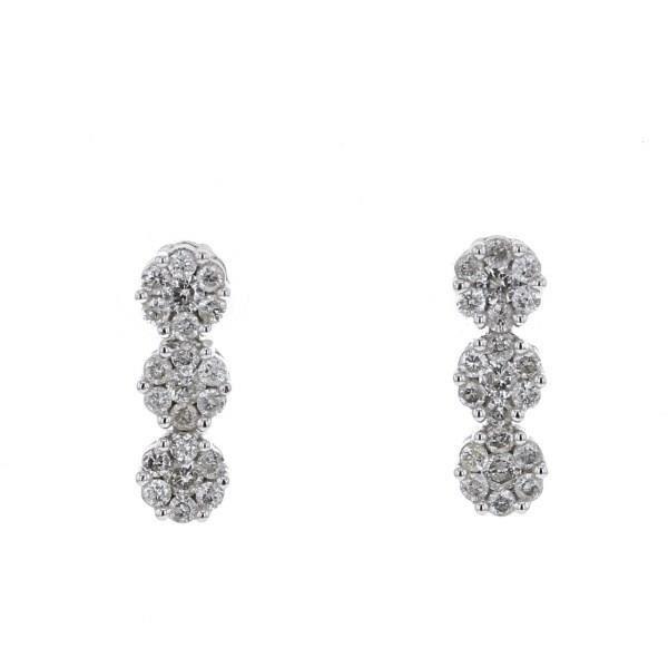 MONTE CARLO STAR - Boucles D'Oreilles Multi Pierres et Or Blanc 18 Carats - Femme