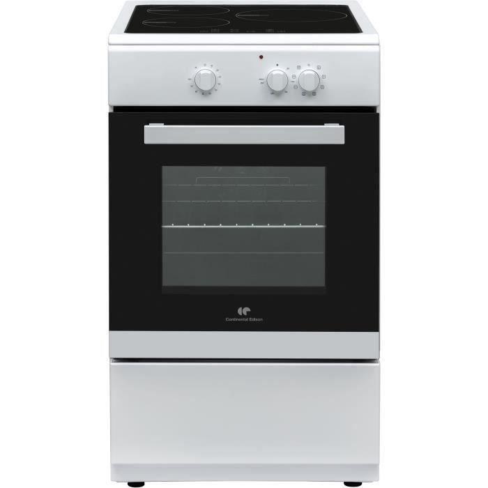 CONTINENTAL EDISON - CECI3Z5060WP - Cuisinière électrique - table induction 3 zones - four multifonction - L50 x H 85cm - Blanc