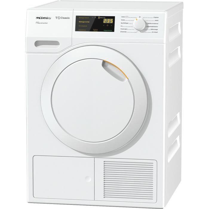"""Frontal-8 kg-Pompe à chaleur-A++-Blanc-Moteur asynchrone """"induction""""-Tambour aérogliss breveté-9 programmesSECHE-LINGE"""
