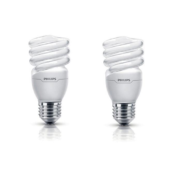 PHILIPS Lot de 2 ampoules fluo-compacte E27 12 W équivalent à 60 W