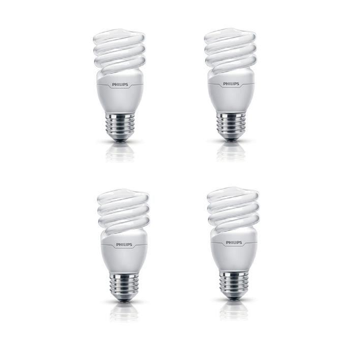 PHILIPS Lot de 4 ampoules fluo-compacte E27 12 W équivalent à 60 W