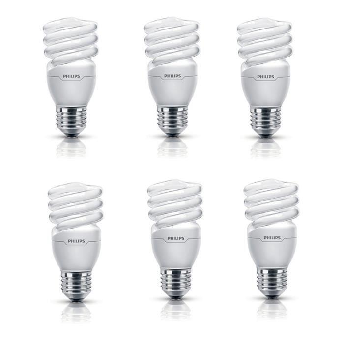 PHILIPS Lot de 6 ampoules fluo-compacte E27 12 W équivalent à 60 W