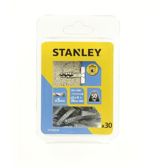 STANLEY Lot 10 de chevilles en nylon ø 5x25 mm sans vis STF20530-XJ
