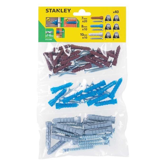 STANLEY Sachet souple transparent de 40 Chevilles en nylon ø 7, 8 et 10 mm avec vis à tête fraisée STF27040-XJ