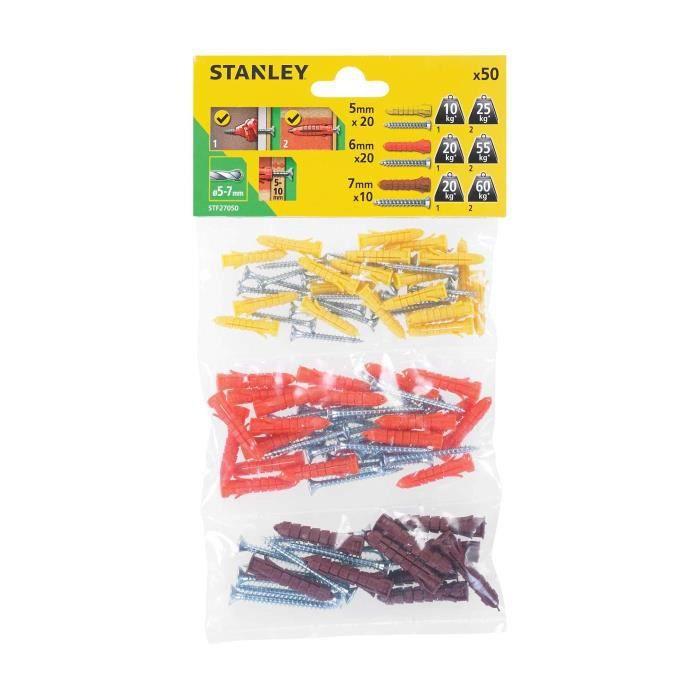 STANLEY Sachet souple transparent de 50 chevilles en nylon ø 5, 6 et 7 mm avec vis à tête fraisée STF27050-XJ
