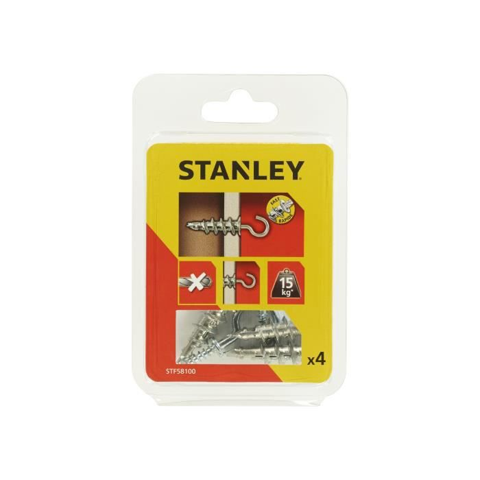 STANLEY Kit de 4 chevilles auto foreuses métal M4x39 mm avec crochets STF58100-XJ