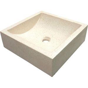 LAVABO - VASQUE Vasque en terrazzo Kiara 40x40cm ton pierre