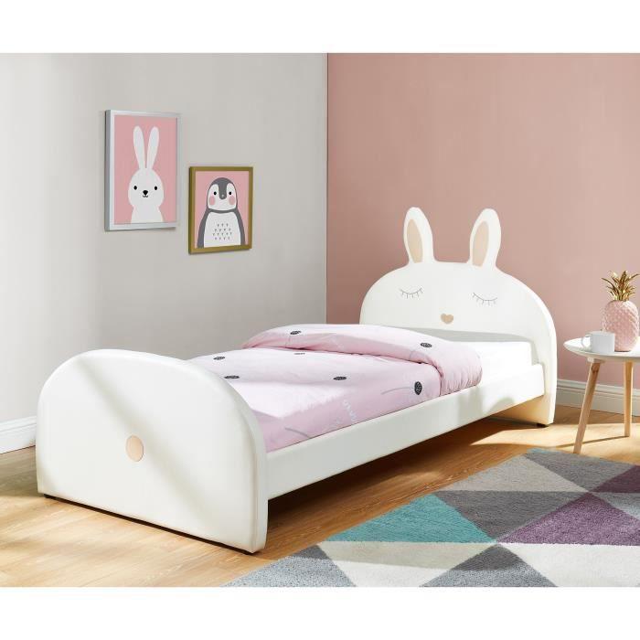 STRUCTURE DE LIT BUNNY Lit enfant lapin - Style junior - Simili bla