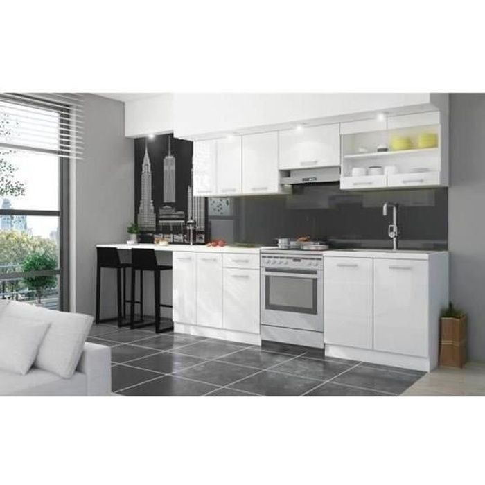 ultra cuisine compl te avec plan de travail l 2m40 blanc. Black Bedroom Furniture Sets. Home Design Ideas
