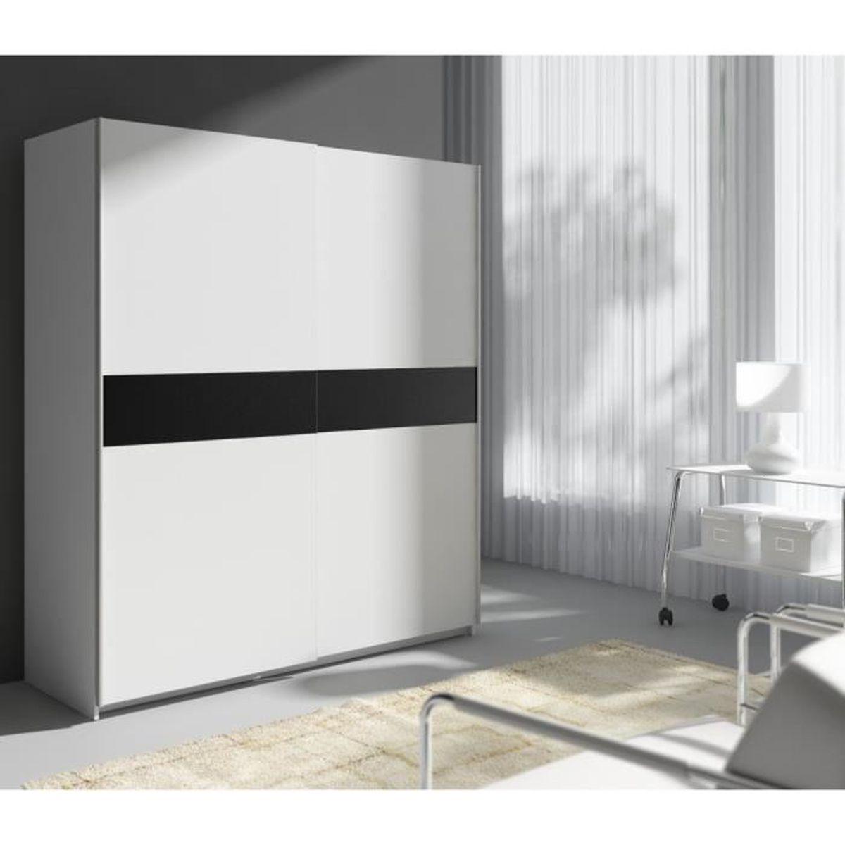 armoire de chambre portes coulissantes avec miroir achat. Black Bedroom Furniture Sets. Home Design Ideas
