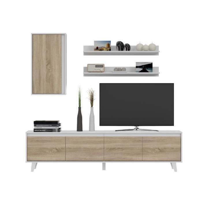 Allure Meuble Tv Contemporain Blanc Brillant Et Décor Chêne L 200