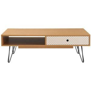 TABLE BASSE COLETTE Table basse vintage décor chêne et imprimé