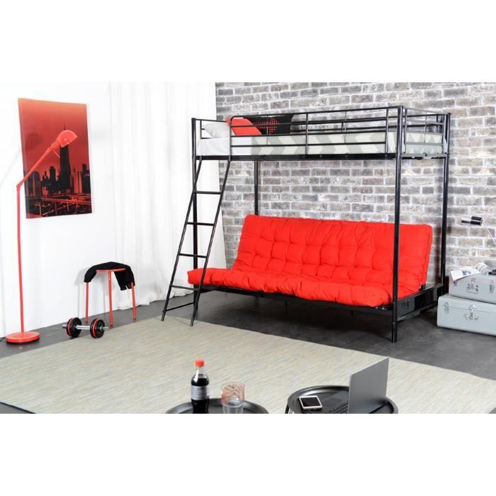 mezzaclic lit adulte contemporain en m tal poxy noir matelas l 90 x l 190 cm achat. Black Bedroom Furniture Sets. Home Design Ideas