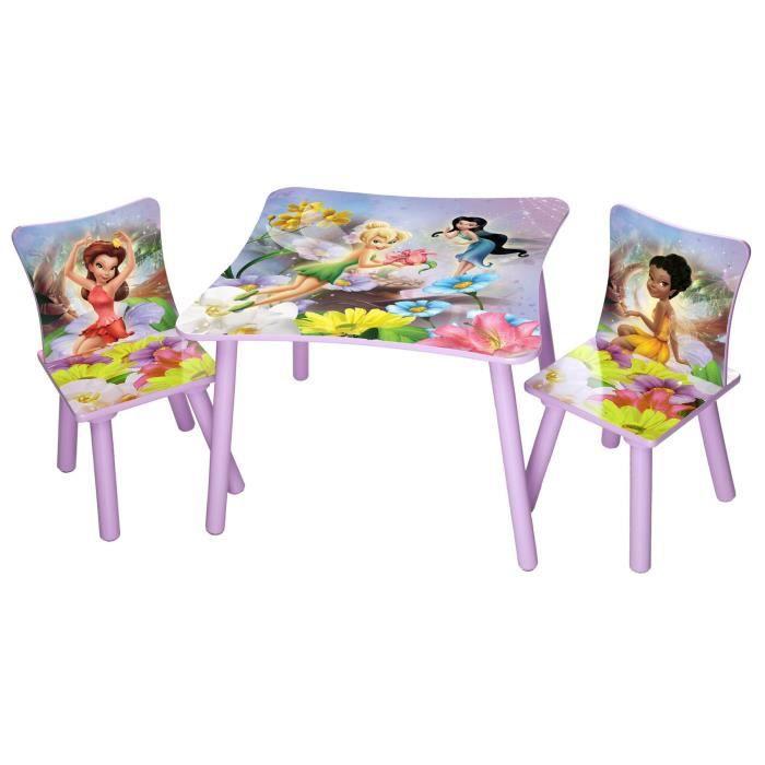LES FEES Table Enfant Et 2 Chaises En Bois