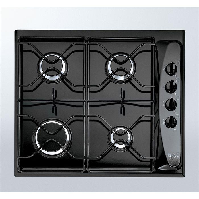 whirlpool akm260 noir table de cuisson gaz 4 foyers 7300w l58xp50cm rev tement porcelaine email. Black Bedroom Furniture Sets. Home Design Ideas