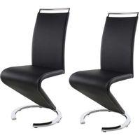 SIDNEY Lot de 2 chaises de salle à manger en métal - Revêtement simili noir - Contemporain - L 49,5 x P 61 cm
