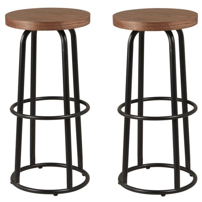metalo lot de 2 tabourets de bar mdf d cor bois pieds en m tal noir style industriel. Black Bedroom Furniture Sets. Home Design Ideas