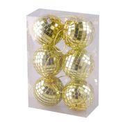 BOULE DE NOËL Lot de 6 boules Miroir - 6 cm - Coloris or
