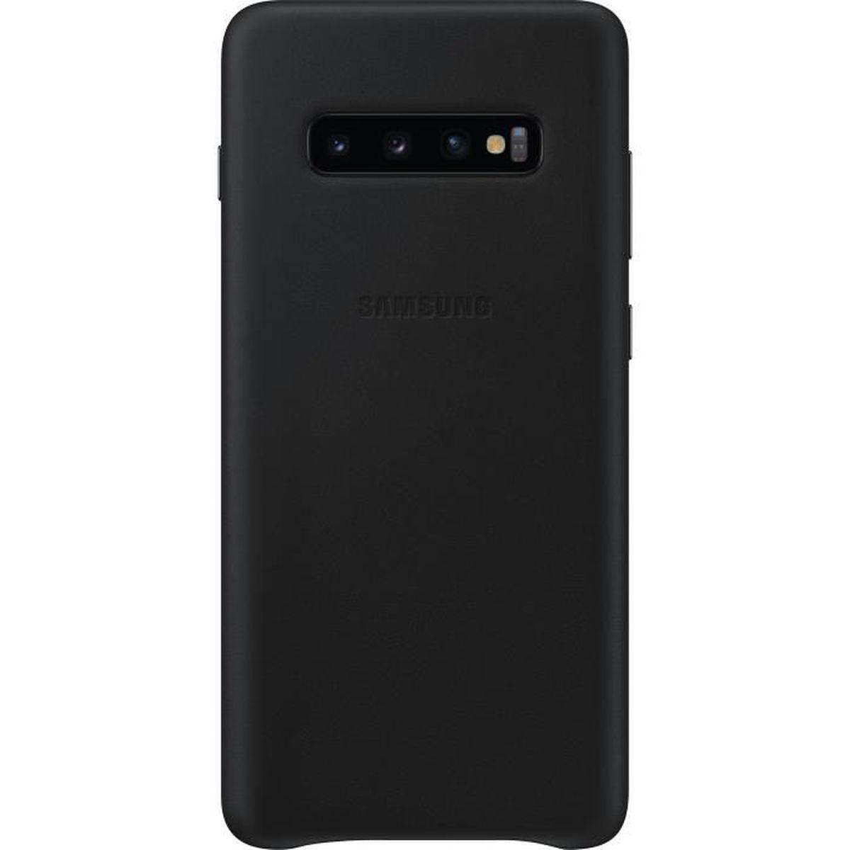 COQUE - BUMPER Samsung Coque en cuir S10+ Noir