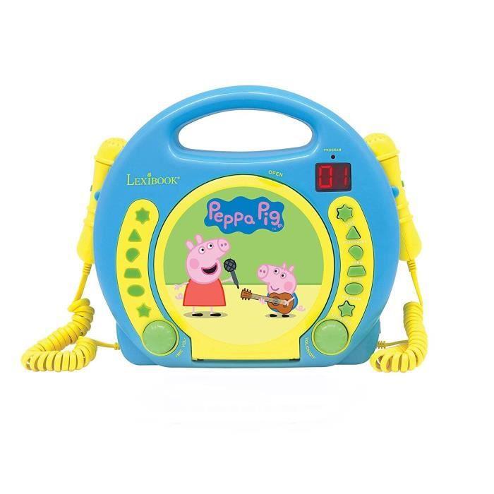 peppa pig lecteur karaok cd enfant avec 2 microphones. Black Bedroom Furniture Sets. Home Design Ideas