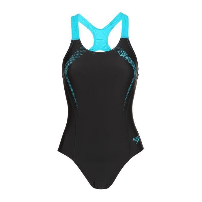 199a0fca7f SPEEDO Maillot de bain piscine Sports logo Medalist - Femme - Noir et Bleu