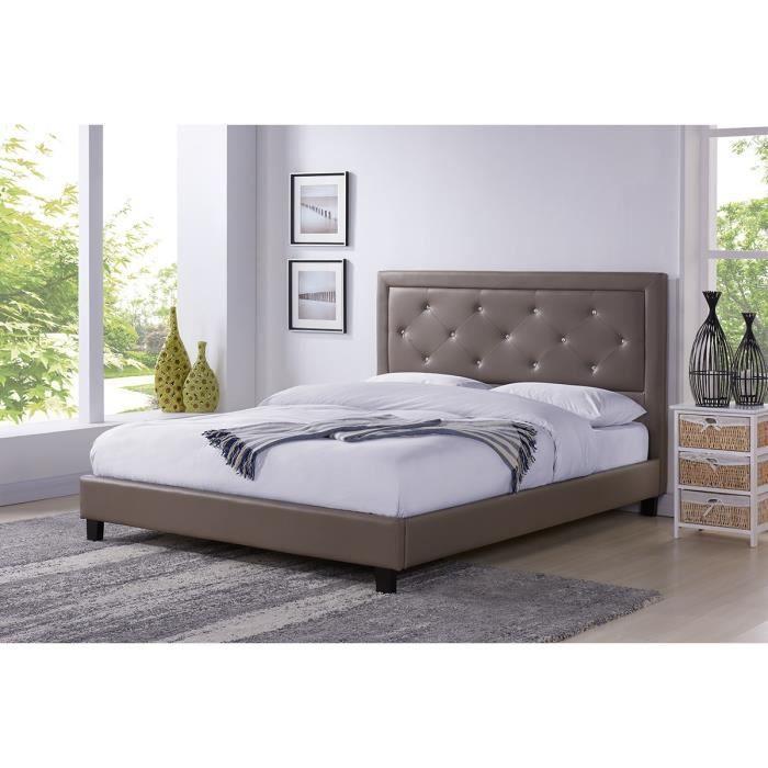 filip lit adulte contemporain simili taupe sommier et. Black Bedroom Furniture Sets. Home Design Ideas