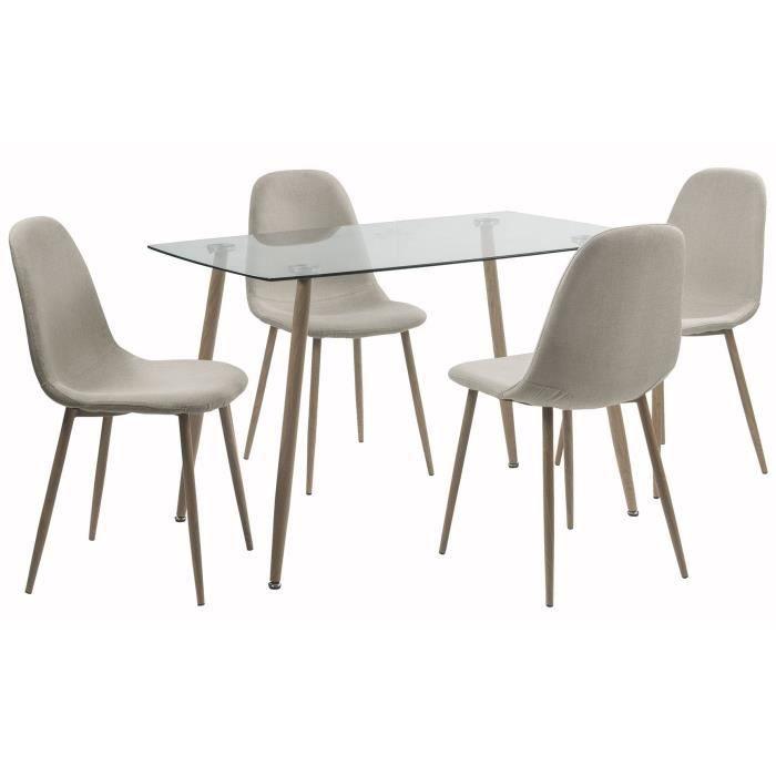 LORENTZ Ensemble Table A Manger 4 6 Personnes Avec Plateau Verre Trempe Chaises Tissu Beige
