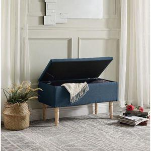 BANC EMILIE Banc avec coffre de rangement - Tissu bleu