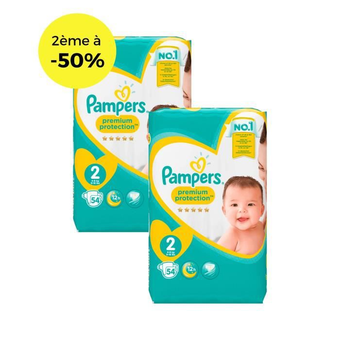 COUCHE PAMPERS New Baby Taille 2 - 3 à 6 kg - Lot de 2 -