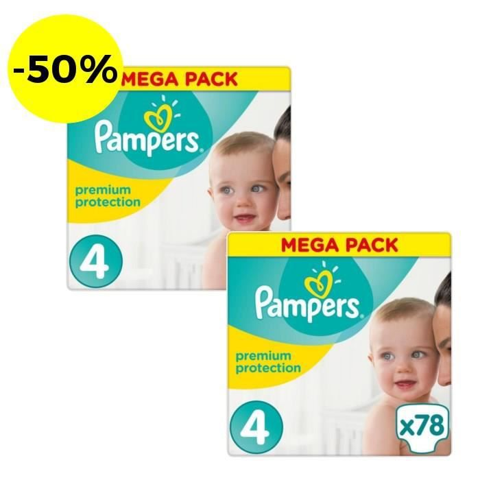 Pampers Premium Protection Taille 4 156 Couches Lot De 2 Paquets