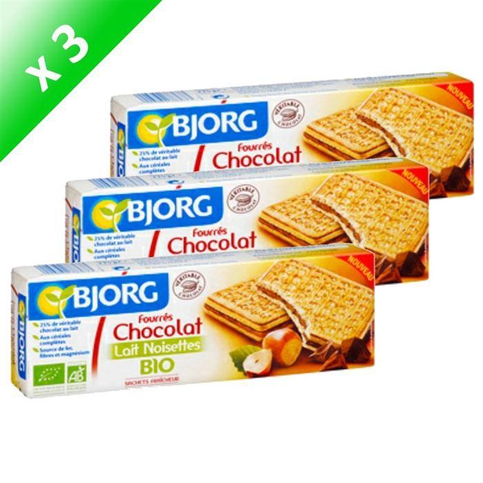 Bjorg fourr chocolat lait noisettes 225g x3 achat vente biscuits secs bjorg fourr choco - Lait de coco bjorg ...