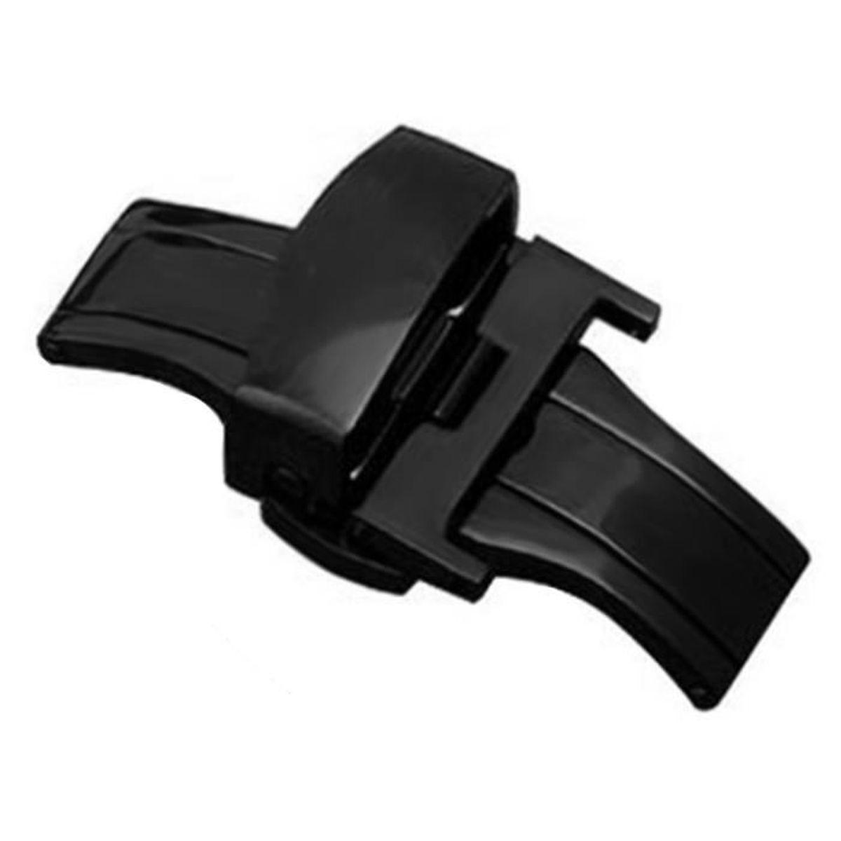 Vococal® déployante Acier inoxydable automatique Double bouton poussoir pour 20mm montre patte noir