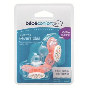 BEBE CONFORT Sucette Reversible Silicone 0/12m (x2) - Rouge Sport